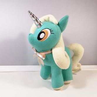 Единорожка Ванилька М'який чарівний єдиноріг Молочно бірюзовий декор Іграшка поні конячка
