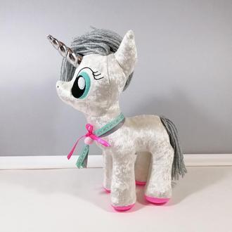 Стильний білий єдиноріг М'яка чарівна единорожка Білий декор Велика іграшка поні конячка