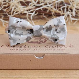 Бабочка- галстук серо- бежевая