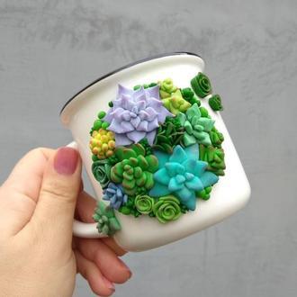 Чашка с декором из полимерной глины Суккуленты
