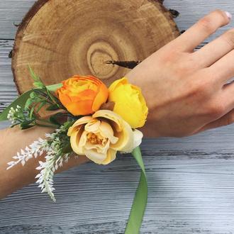 Браслет из цветов, свадебное украшение для подружки невесты, для выпускного, искусственные цветы