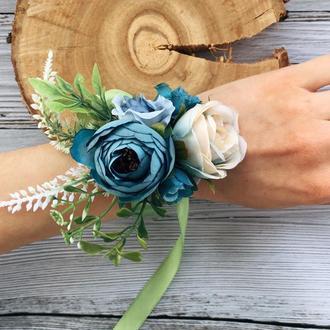 Свадебный браслет из цветов, для подружки невесты, украшение для выпускного, искусственные цветы