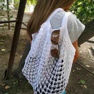 Многоразовая эко-сумка для покупок, Сумка - авоська. Цвет - белый.