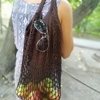 Многоразовая эко-сумка для покупок, Сумка - авоська. Цвет - коричневый.