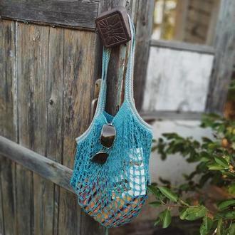 Многоразовая эко-сумка для покупок, Сумка - авоська. Цвет - бирюзовый.