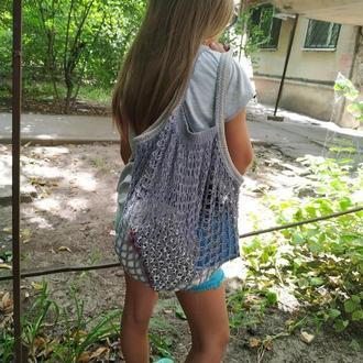 Многоразовая эко-сумка для покупок, Сумка - авоська. Цвет - синий джинс.