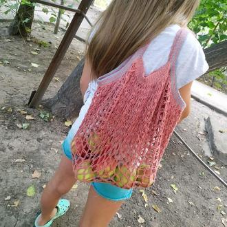 Многоразовая эко-сумка для покупок, Сумка - авоська. Цвет - красный.