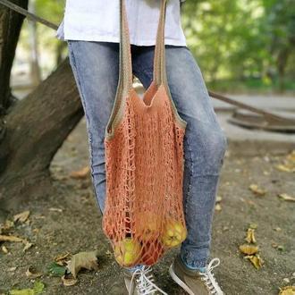 Многоразовая эко-сумка для покупок, Сумка - авоська. Цвет - теракотовый.