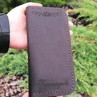 Кожаный мужской кошелек портмоне из натуральной кожи ручной работы Revier коричневый для денег и тел