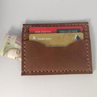 Мужской картхолдер под автодокументы и деньги из натуральной кожи ручной работы Revier коричневого ц