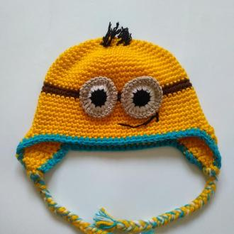 """Шапка """"Миньон"""". Зверошапка. Теплая шапка. Шапка для детей."""