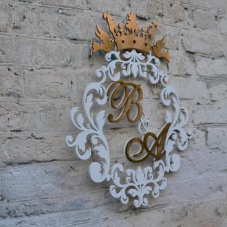 Деревянная свадебная монограмма, деревянный семейный герб, монограмма на свадьбу, деревянные буквы