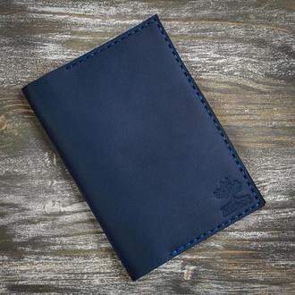Синяя кожаная обложка на паспорт
