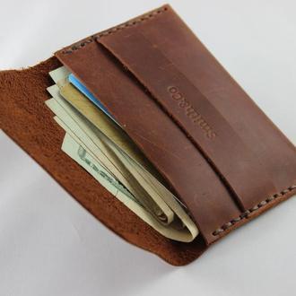 Кошелек для кредитных карт. Визитница-кардхолдер кожаная