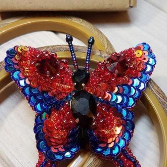 Брошь бисерная Бабочка Бісерна брошка Метелик