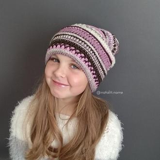 Вязаная шапка Boho lady (pink)