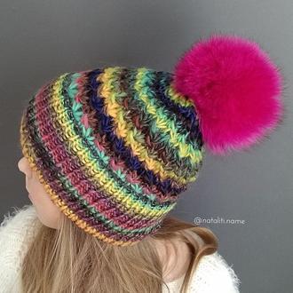 Вязаная шапка Multicolor (р-р 55-59 см)