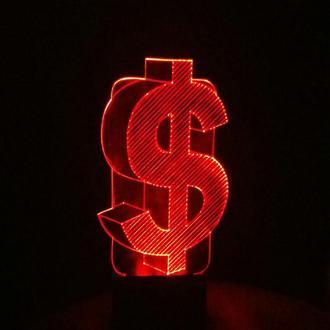 Доллар США, ночник лампа светильник, подарок банкиру финансисту, символ богатства