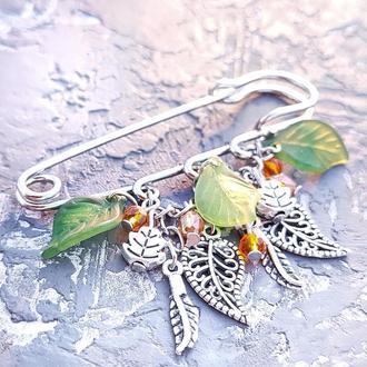 """Брошь """"Волшебная осень"""" с листочками и кристаллами брошь булавка"""