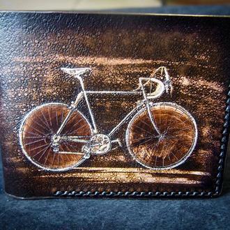 Бумажник с велосипедом,кошелек унисекс ,купить стильный кошелек с ретро велосипедом .
