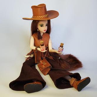 Кукла в стиле кантри в наряде из натуральной кожи