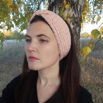 Объёмная вязаная повязка пудрового цвета 100% hand made тёплая повязка на голову