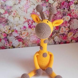 Вязаный жираф. Интерьерная игрушка. Подарок девочке. Подарок мальчику. Подарок новорожденному.