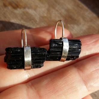 Серебряные серьги с черным турмалином, серебряные серьги с камнями, серьги с натуральными камнями