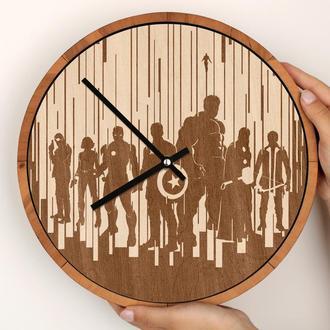 Круглые деревянные часы с гравировкой, Avengers Мстители, Marvel Марвел, индивидуальный заказ