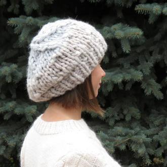 Объемная зимняя шапка крупной вязки с меховым помпоном НА ЗАКАЗ