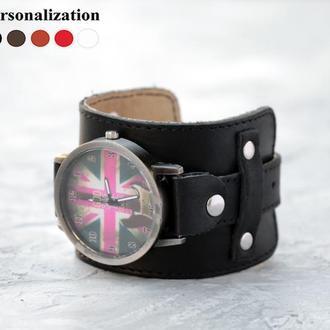 Прошитый кожаный ремешок для часов, код 5330ст