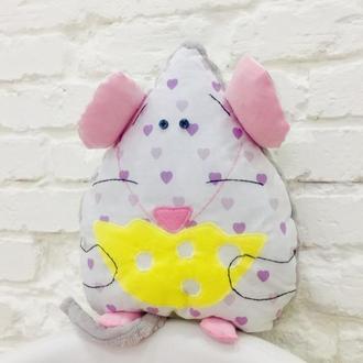 Мышка подушка-игрушка для сна-подарок для девочки-декор в детскую-подарки для детей
