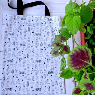 Эко сумка для покупок с кошками, сумка пакет торба, сумка шоппер 29