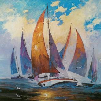 "Картина ""Яхты"" 50х50 см"