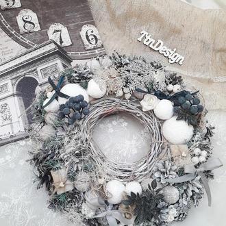 Венок новогодний рождественский декор подсвечник