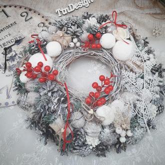 Венок рождественский новогодний декор подсвечник. Вінок різдвяний