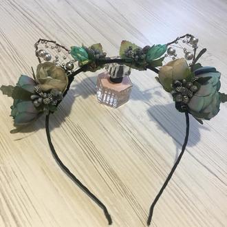 Обруч-ушки с цветами