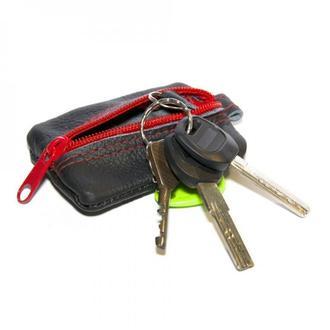 Шкіряна чорна ключниця з червоною блискавкою, Кожаная черная ключница с красной молнией