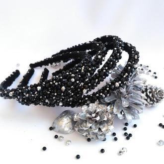 Новогодние украшения в прическу, ободок из хрустальных бусин черного цвета