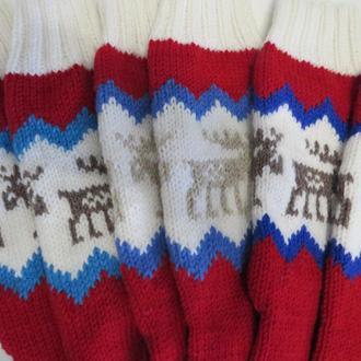 Вязаные гольфы носки с оленями