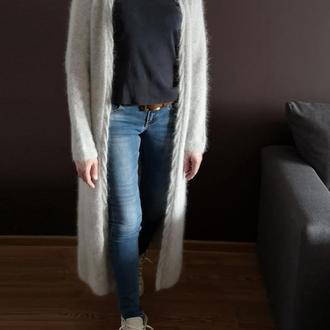 Длинный серый кардиган пушистый пух норки ангора кролик Bregoli design