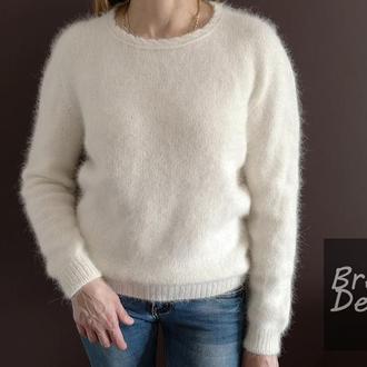 Белый свитер пушистый свитер ангора кролик базовый свитер