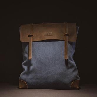 Рюкзак из канвы и натуральной кожи Котомка. Водооталкивающий. Синий