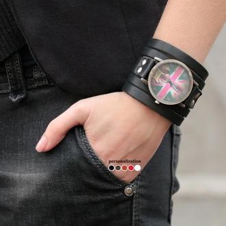Черный кожаный ремешок для часов под циферблат 4 см код 5640