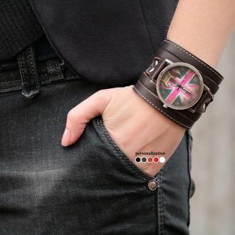 Коричневый прошитый коричневый ремешок для часов под циферблат 4 см, код 5640ст