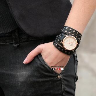Черный кожаный браслет для часов в заклепках код 5861