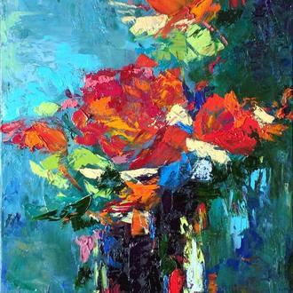 Картина масляными красками в технике импасто - Смелая роза -