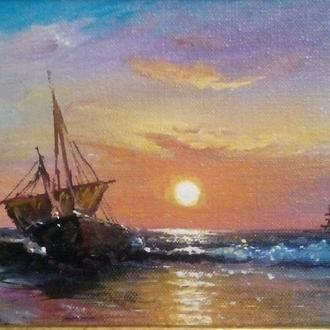 "Картина ""Рассвет на берегу моря"" 30,5х15 см"