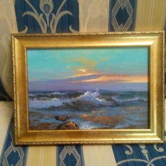 """Картина """"Морской прибой"""" 22,5х15,5 см"""