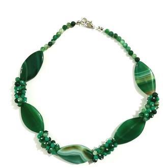 Колье из Агата Панянка, натуральный камень, цвет зеленый и его оттенки \ Sk - 0100